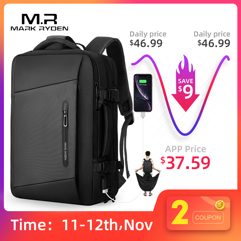 Mark Ryden 17 inch Laptop Backpack Raincoat Male Bag USB Recharging Multi layer Space Travel Male Bag Anti thief Mochila-in Backpacks from Luggage & Bags