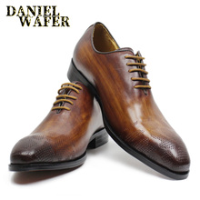 LUXURY BRAND MEN LEATHER SHOES BLACK BROWN POINTED TOE LACE UP OFFICE BUSINESS WEDDING SHOES BROGUES FORMAL MEN OXFORDS SHOE цены онлайн