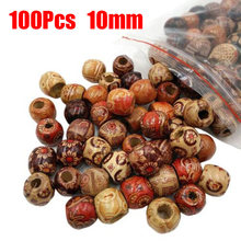100pcs/Set Mixed Large Hole Wooden Beads For DIY Bracelet Charms Crafts Tool Art(China)