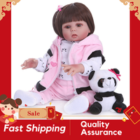 Original realista muñeco de bebé Reborn 48Cm de cuerpo completo de silicona muñeca bebé recto rizado pelo juguete de baño para bebé para niños regalo