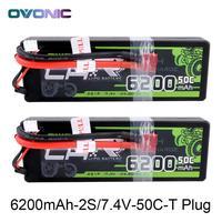 2 uds Ovonic RC coche batería de 6200mAh 7,4 V LiPo 2S 50C Max 100C Paquete de batería Hardcase for1: tamaño 10 bandido Emaxx barra HPI RC Coche