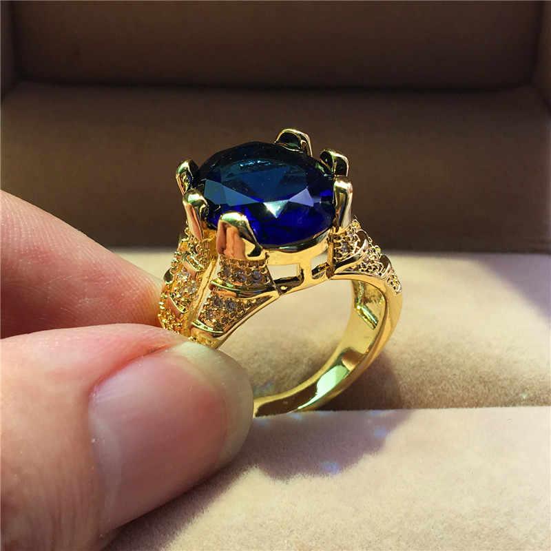 Luxury ชายหญิงคริสตัลรูปไข่ขนาดใหญ่แหวนแฟชั่นผู้ชายผู้หญิงทองหมั้นแหวน Vintage Blue สีขาวแหวนเพทายสีม่วง