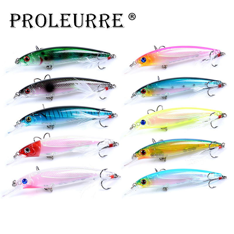 10pcs//lot Minnow Fishing Lure Feather Wobblers Isca Hard Artificial Bait Lures