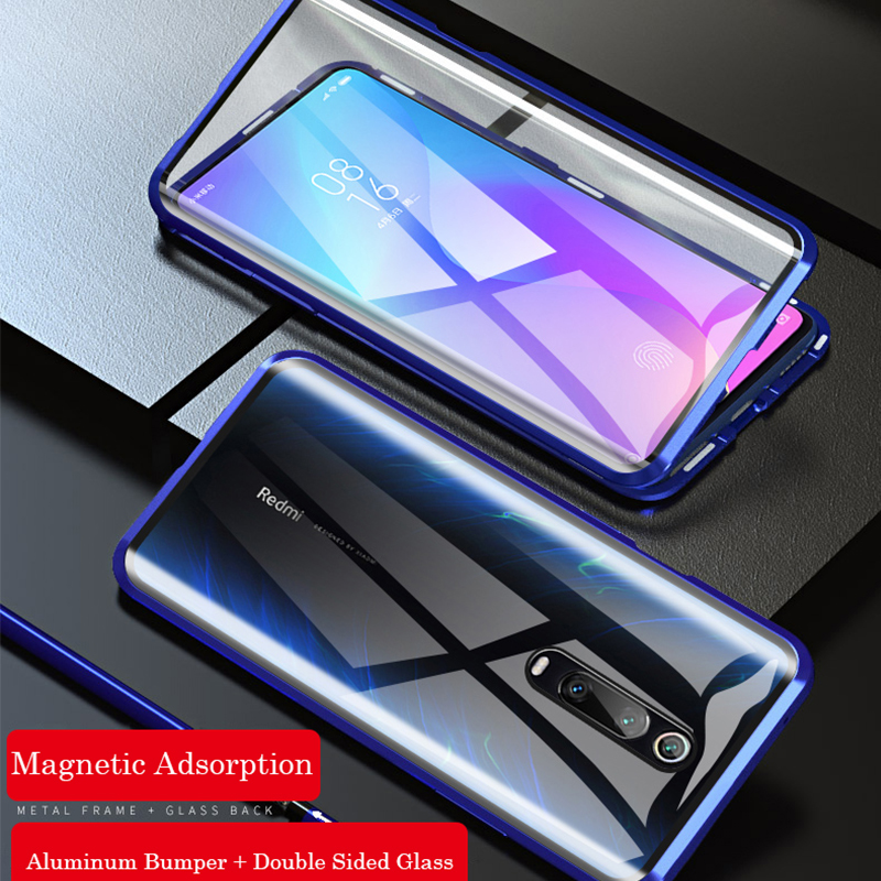 360 Full Protection Magnetic Case For Xiaomi Redmi Note 8 Pro 7 Metal Bumper Double Glass Cover For Mi Note 10 Mi 9 9T 8T funda 1