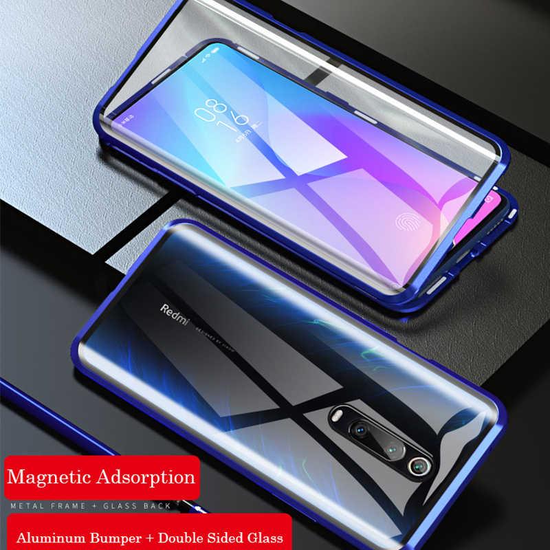 360 ป้องกันแม่เหล็กสำหรับXiaomi Redmiหมายเหตุ 8 Pro 7 กันชนโลหะแก้วคู่สำหรับMi Note 10 Mi 9 9T 8T funda