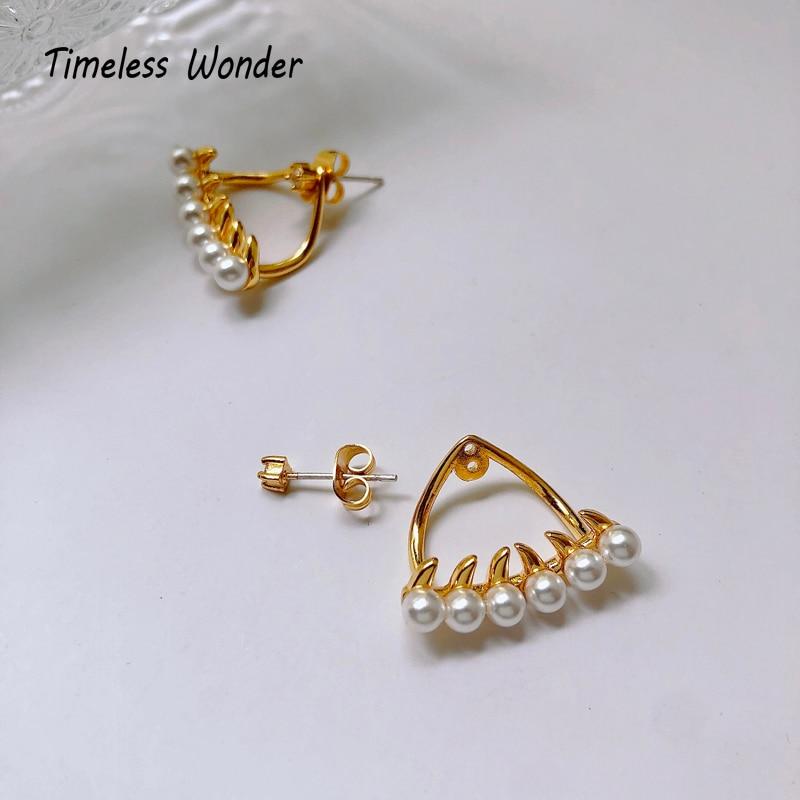 Timeless Wonder Faux Pearl Shark Teeth Ear Jacket Stud Earrings Women Jewelry Goth Boho Designer Top Rare Punk Ins Trendy 6388