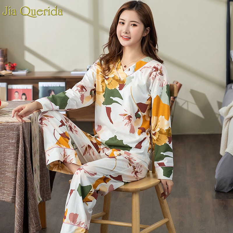 New Pyjamas Women Plus Size Pajamas White Floral Printing V-collar Trendy Lingerie Home Suits Wide Legs Female Cotton Sleepwear 5