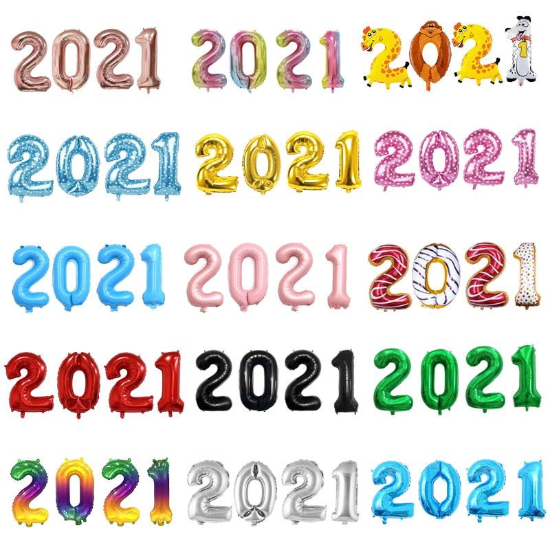 4 шт./лот 16 дюймов 32 дюйма 2021 шары из фольги в виде цифр, радужная фигурка, шар, новый год 2021, новогодние украшения, Рождественское украшение