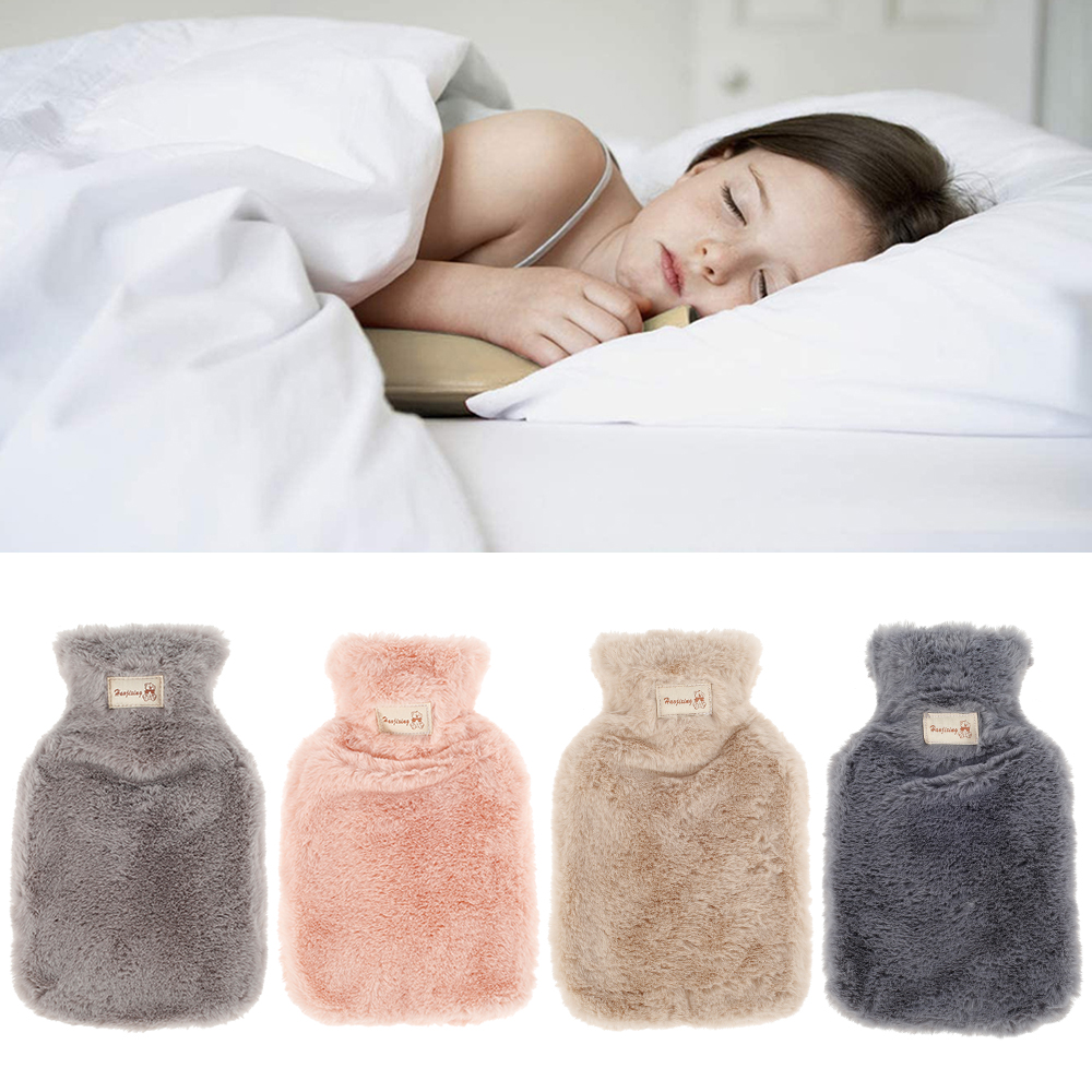 800/1800ml hot water bottle soft to keep warm in winter portable and reusable protection plush covering washable and leak-proof