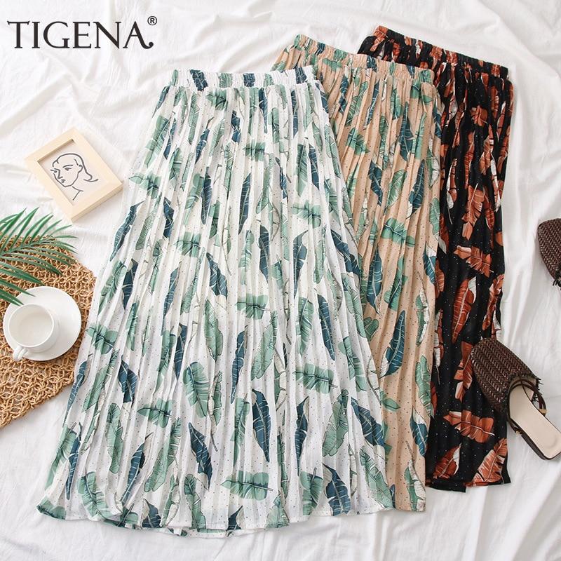 TIGENA Long Maxi Pleated Skirt Women Fashion 2020 Summer Cool High Waist Floral Print Boho Beach Holiday Chiffon Skirt Female