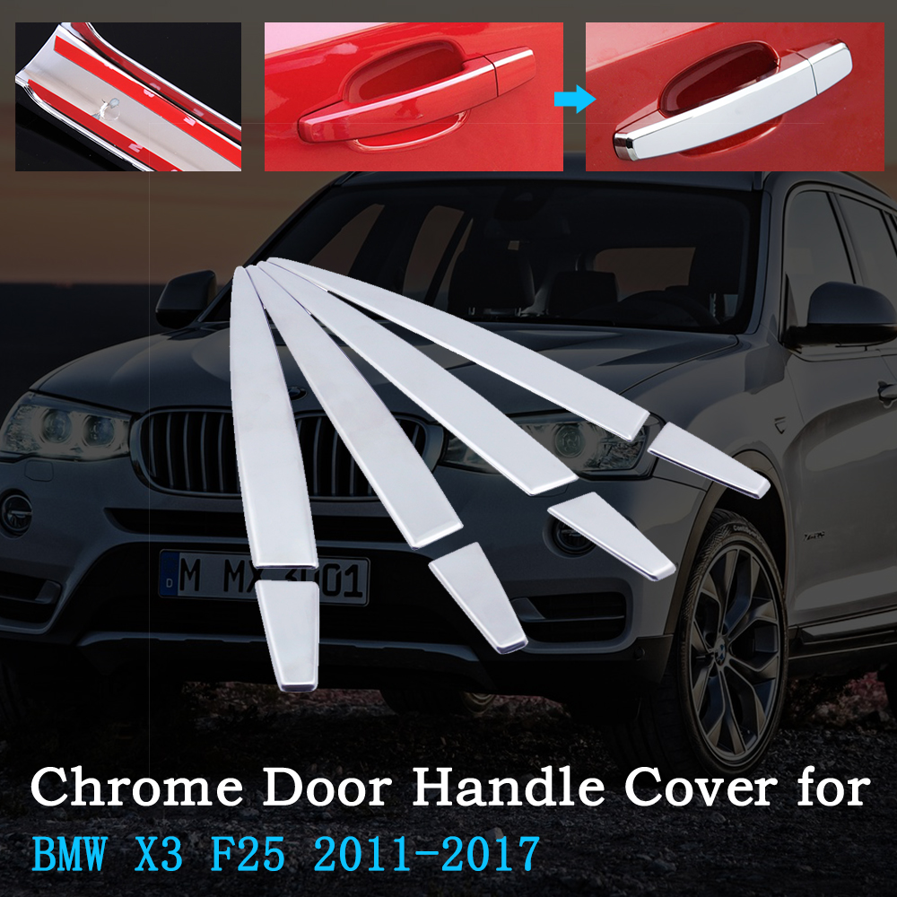 Chrome Car Door Handle Cover for <font><b>BMW</b></font> <font><b>X3</b></font> F25 2011~<font><b>2017</b></font> Luxury Trim Set of 4Doors Exterior <font><b>Accessories</b></font> 2012 2013 2014 2015 2016 image