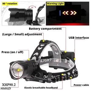 Image 3 - XHP90 LED Reflektor Latarka czołowa dużej mocy XHP70 Reflektor 18650 Akumulator USB Kemping XHP50 wodoodporna lampa czołowa Latarka XHP50.2 LED handight