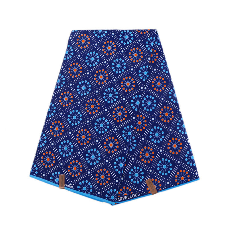 Blue Geometric Pattern Printed African Ankara Wax Fabric 6 Yards 100% Polyester Real African Wax Fabric Prints For Party