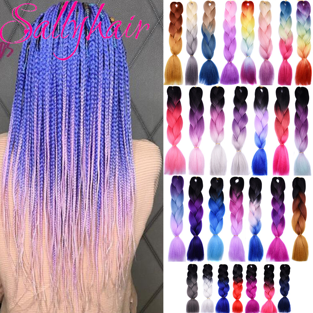 Sallyhair 24inch Ombre Braiding Hair 2 Tone Blue Purple Pink Color Jumbo Braids High Temperature Fiber Synthetic Hair Extensions