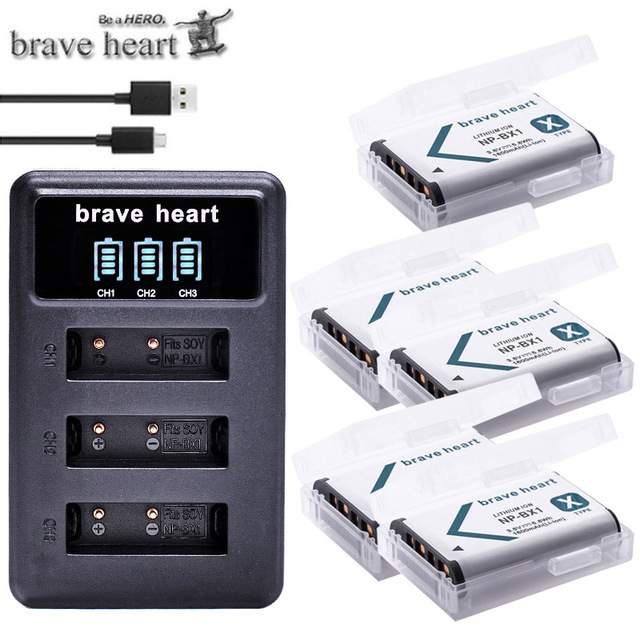 NPBX1 NP BX1 Bateria NP BX1 Battery+ 3 Slots Charger for Sony DSC RX1 RX100 AS100V M3 M2 HX300 HX400 HX50 HX60 GWP88 AS15 WX350