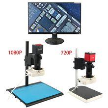 720P 1080P HDMI VGA תעשייתי דיגיטלי וידאו מיקרוסקופ מצלמה + 100X C הר עדשה + 56 LED טבעת אור + Stand עבור PCB הלחמה