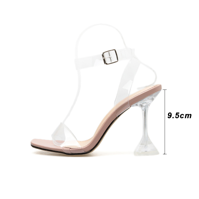 Image 3 - Kcenid 2020 New fashion PVC jelly sandals women open toe ankle strap transparent ladies sandals shoes perspex heel clear shoesHigh Heels   -