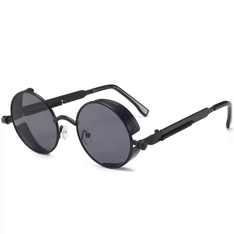 الكلاسيكية القوطية Steampunk النظارات الشمسية الفاخرة العلامة التجارية مصمم عالية الجودة الرجال والنساء الرجعية إطار معدني مستدير النظارات الشمسية UV400