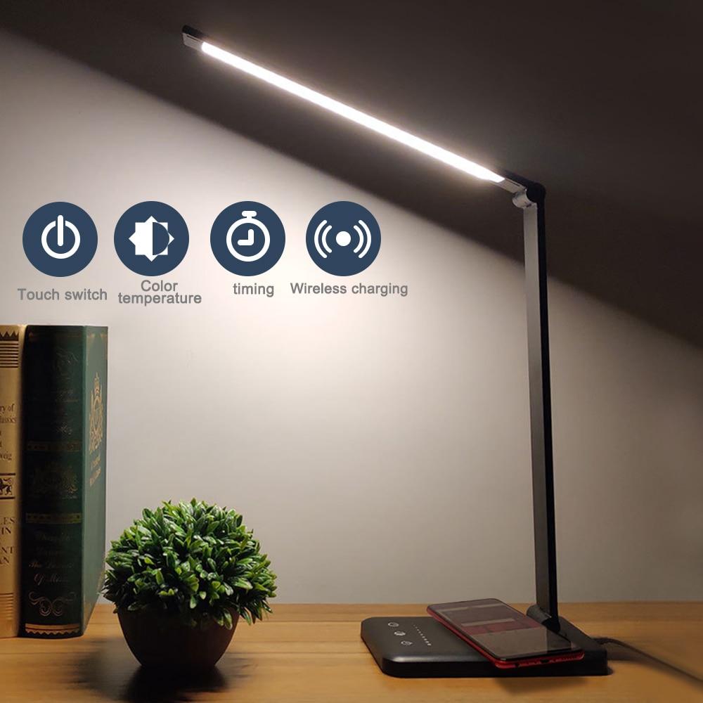 Eye Protect LED Desk Lamp Aluminum Alloy Folding Touching Dimming 3 Level / 5 Level /timing / Plug / Charge / Black / Silver USB