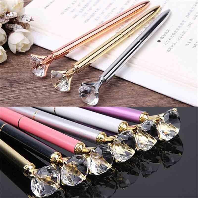HOT-40 Pcs métal cristal stylo diamant gaufrette stylo à bille 1.0Mm bleu écriture stylo étudiant école cadeau stylo à bille