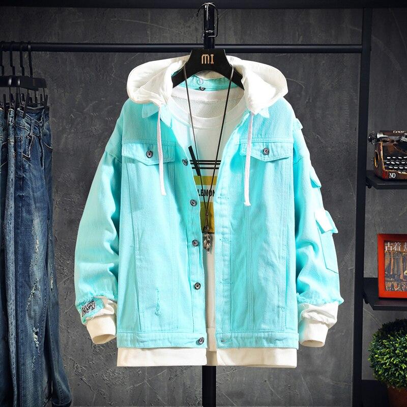 2020 Pink Black Green Jeans Jacket Men Slim Streetwear Ripped Denim Jacket Hoodie Men Hip Hop Bomber Jacket Homme Autumn