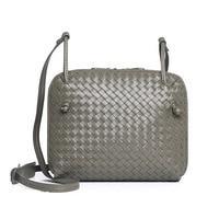 Luxury Design Geniuine Sheepskin Leather Handmade Woven Women Messenger Bag Double Zipper Pockets Soft Female Crossbody Bags