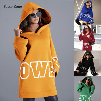 Loose Long Style Women Hoodies Sweatshirt Casual Letter Print Fashion Hooded Streetwear Autumn Winter Full Sleeve Pullover Tops women solid color plush hooded sweatshirt autumn winter long sleeve loose warm hoodies coat pockets casual fashion outwear tops