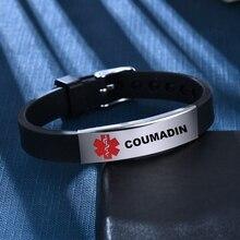 Bangle Adjustable-Type Medical-Alert 1-Diabetes Wristband Id-Bracelet Red Silicone Unisex
