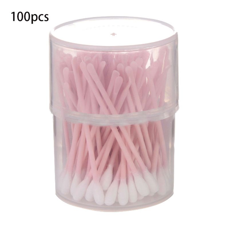 100 Pcs 2 In 1 Ear Spoon Dual-use Ear Hole Cleaning Creative Home Disposable Cotton Swab