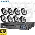 4K 8MP камера видеонаблюдения комплект H.265 POE NVR система наружная 8ch видеонаблюдение