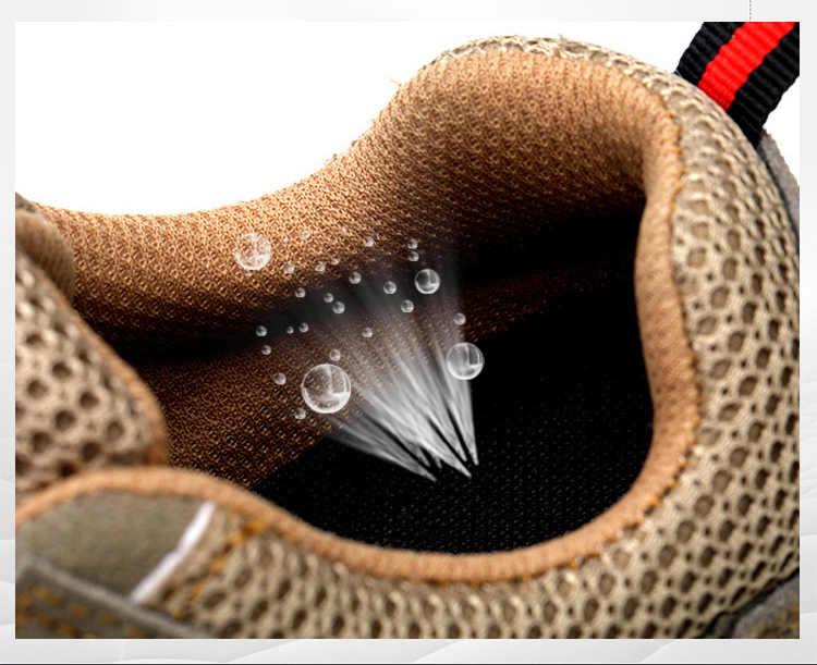 Yıkılmaz güvenlik ayakkabıları çelik ayak çelik orta taban Anti-smashing Anti-kayma erkek iş çizmeleri rahat nefes alan günlük ayakkabılar