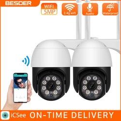 BESDER 5MP PTZ Outdoor Wifi IP Kamera 1080P Speed Dome AI Sicherheit Kamera Wireless Audio 2MP CCTV Wasserdichte IR farbe Nacht IPC