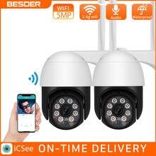 Besder 5MP Ptz Wifi Ip Camera 1080P 2MP Speed Dome Ai Security Camera Draadloze Onvif Audio Outdoor Waterdichte Ir kleur Night Ipc