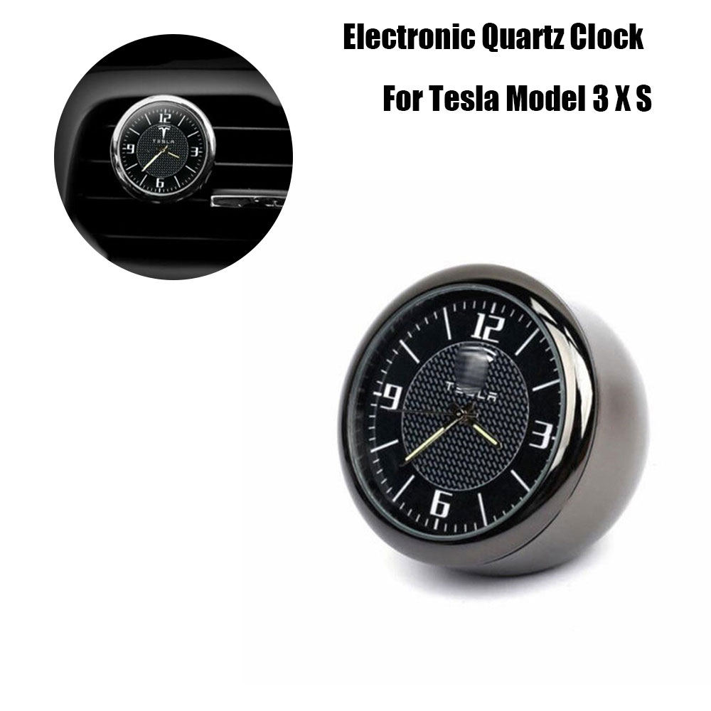 Electronic Quartz Clock Ornament Car Clock Air Vent Refit Interior Luminous Clock For Tesla Model 3 X S