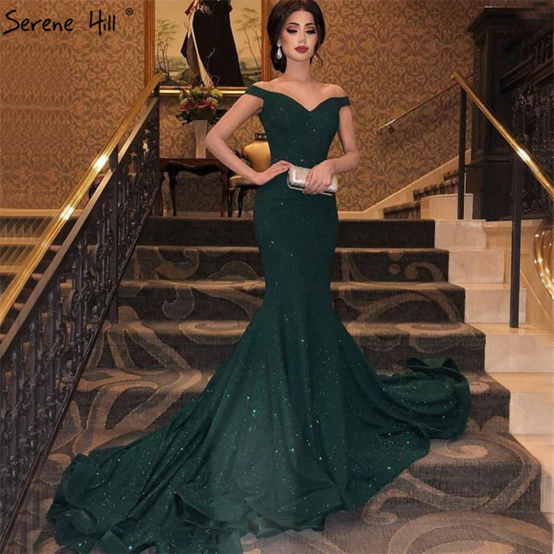 Green Off Shoulder Sparkle Sexy Evening Dresses Sweetheart Mermaid Sequined Evening Gowns Real Photo Serene Hill LA6683