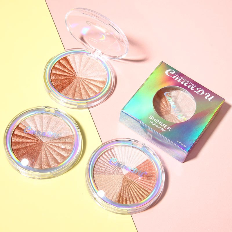 Highlighter Facial Palette Makeup Glow Kit Face Contour Shimmer Powder Base Illuminator Highlight Cosmetics Long Lasting TSLM1