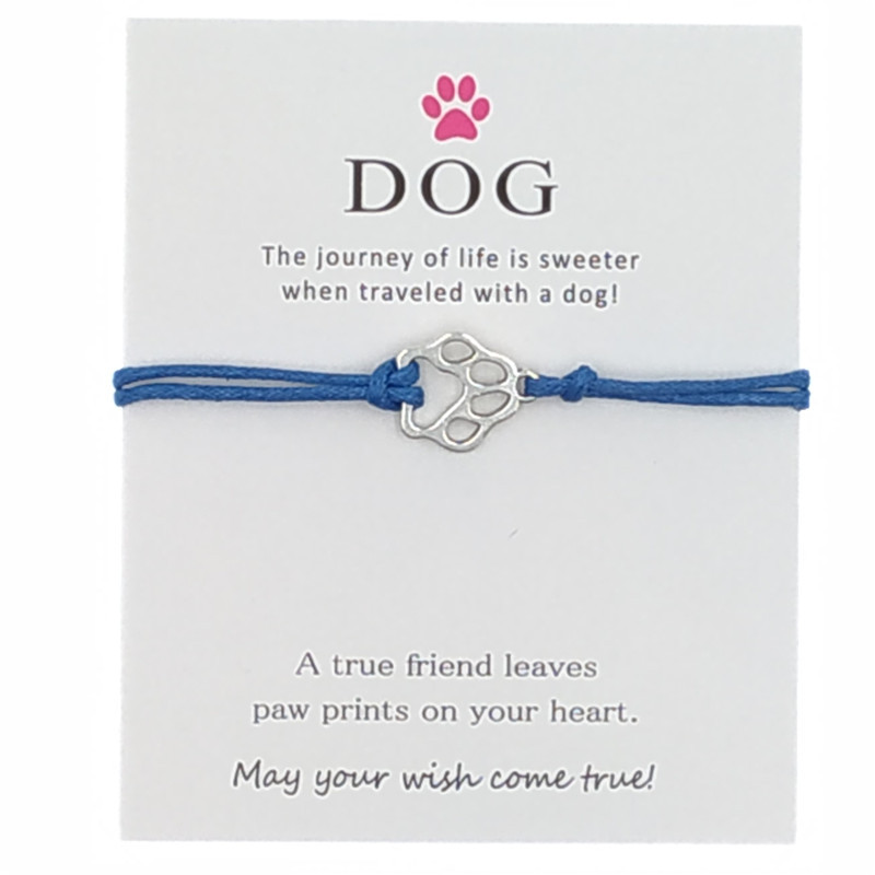 New Silver Pet Dog's <font><b>Paw</b></font> Prints Charm Wish Love Card <font><b>Bracelets</b></font> for Women Girls Best Friend Dogs Lover Gifts Friendship Jewelry image