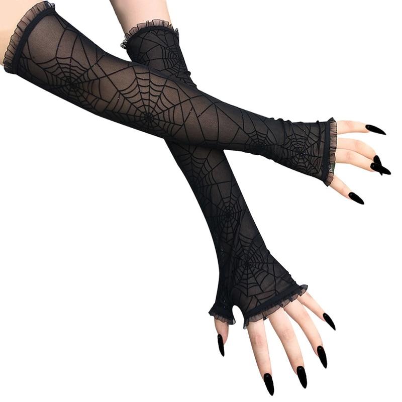 Frauen Lange Handschuhe Sonnencreme Bands Spinne Web Muster Halbe Finger Mesh Handschuhe Cosplay Leistung Schwarz Mode Sexy Arm Ärmeln