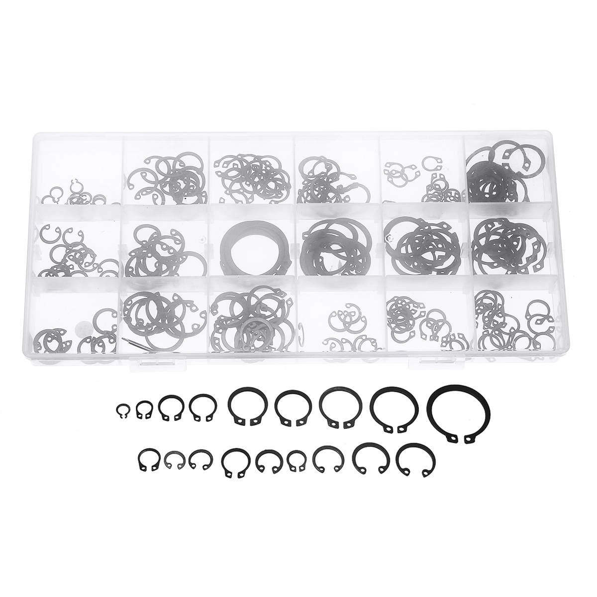 225x Steel External Circlip Retaining Ring Snap Ring Assortment Kit New