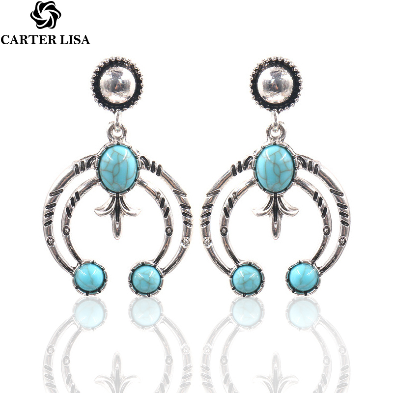 CARTER LISA Antique Silver Curve Moon Vintage Earrings Bohemian Ethnic Turquoise Stone Earrings  Jewelry For Women HLE00370000