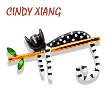 CINDY XIANG Lazy Cat Brooch Enamel Pin Carton Animal Kitty Brooches For Women Kids Pin 2 Colors Choose Summer Jewelry Good Gift cindy xiang new arrival cute summer skating girl brooches for women 2 colors choose wearing dress dancing lady brooch pin enamel
