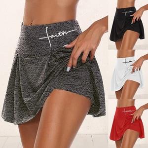 Gym Women Running Shorts Skirt High Waist Print New Shorts Mesh Double Layer Patchwork Fitness Shorts Sports Short Skirt