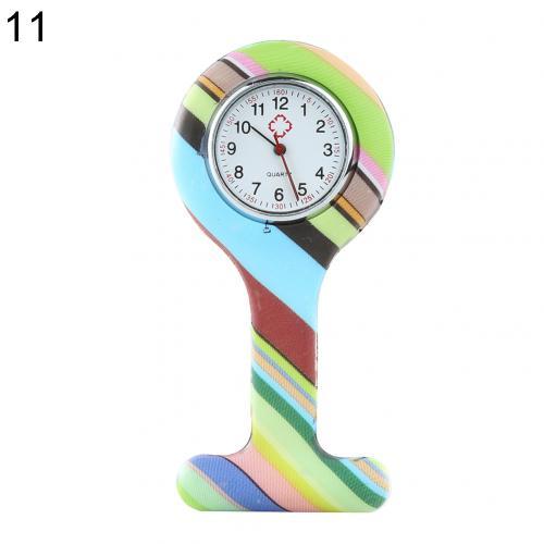 Портативный Зебра арабские печатные цифры Круглый циферблат силикон Медсестра часы Брошь Туника кармашек для часов Часы - Цвет: 11
