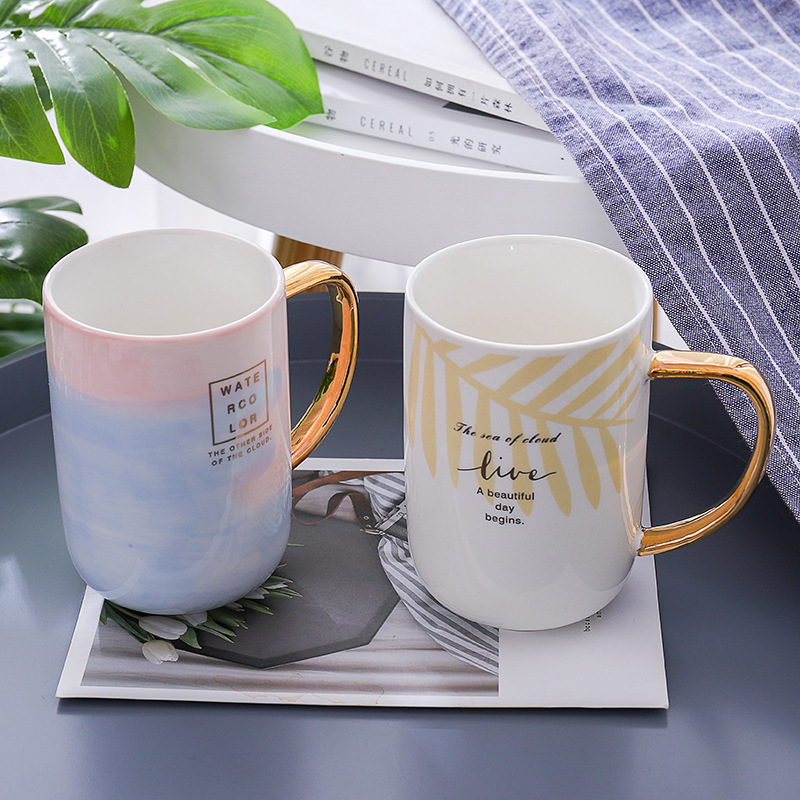Nordic style gold ceramic cup coffee cup creative student couple cup office mug wedding gift  tea mug  coffee mugs creative