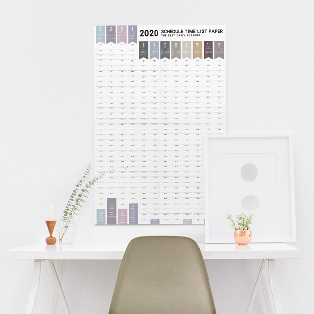 Creative Agenda 2019 2020 365 Days Paper Wall Calendar Daily Planner Notes Very Large Study TO DO LIST Kawaii School Supplies 1