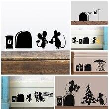 1 pieza 2020 pegatinas de pared con agujero de ratón de amor divertido para habitaciones infantiles calcomanías de pared arte para mural de vinilo decoración del hogar póster Vintage extraíble