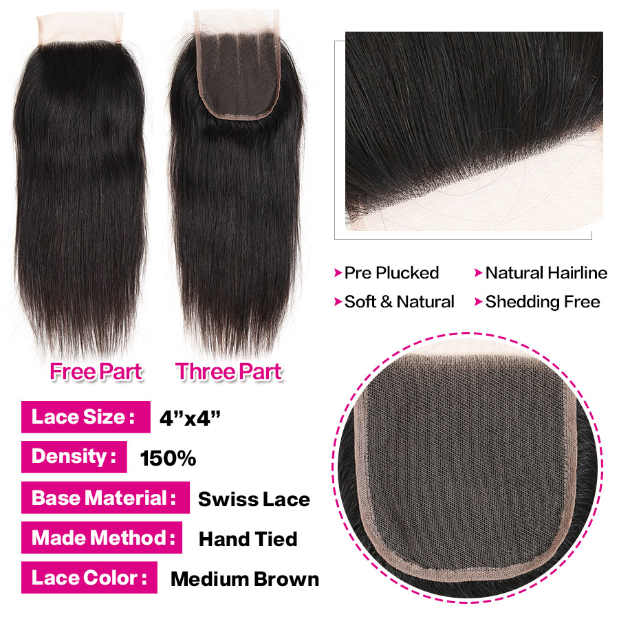 H0d6ee432aa88443eabea44d578d41a4cp Cynosure Brazilian Straight Hair Weave 3 Bundles with Closure Natural Black Remy Human Hair Bundles with Closure