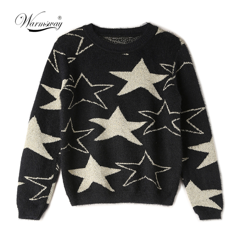 Women Thicken Knit Sweater 2019  Cold Winter Goldlen Star Hot Long Sleeve Loose Pullovers Top Women's Clothes  C-020