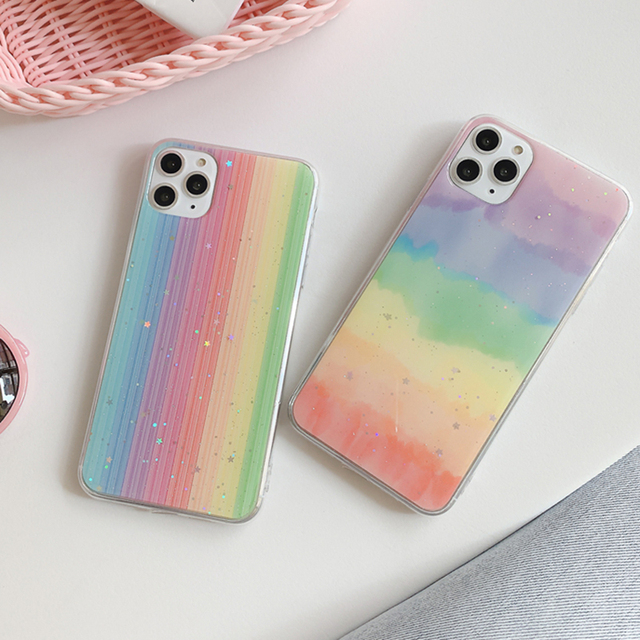 LOVECOM Rainbow Phone Case For iPhone 11 Pro Max XR XS Max 6 6S 7 8 Plus X Gradient Color Glitter Epoxy Soft Phone Back Cover