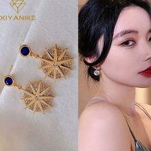 XIYANIKE – boucles d'oreilles coréennes créatives en Zircon pour femmes, en forme de V, délicates, en perles, bijoux de déclaration